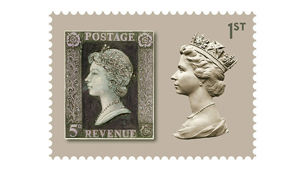 "Celebrating 50 years of the ""Queen's head"" stamp design"